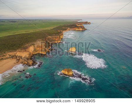 Aerial View Of Rugged Coastline Near Childers Cove, Australia