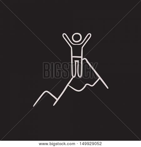 Climbing vector sketch icon isolated on background. Hand drawn Climbing icon. Climbing sketch icon for infographic, website or app.