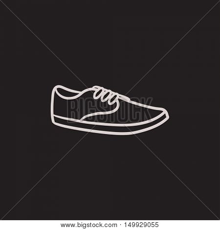 Male shoe vector sketch icon isolated on background. Hand drawn Male shoe icon. Male shoe sketch icon for infographic, website or app.