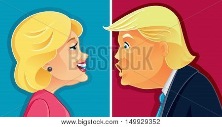 October 1, 2016 Caricature Character Illustration of Hillary Clinton and Donald Trump