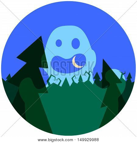 Spooky ghost in the forest. Halloween vector illustration with cartoon style character. Night sky with moon. Creepy landscape with fir trees and green forest. Transparent ghost image for Halloween