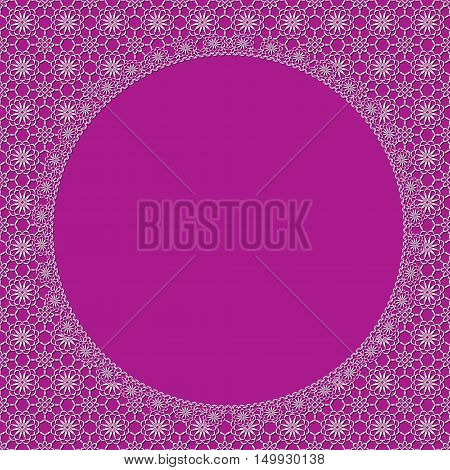white lace frame with shadow on a pink background