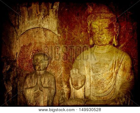 Grunge background with old paper texture and Buddha's statue, Longmen Grottoes, Luoyang, China