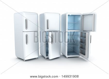 Refrigerator on white background. 3D render,isolated on white