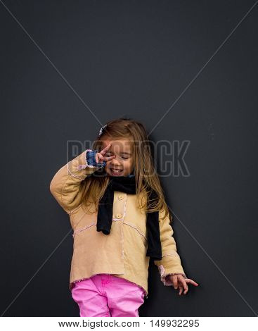 Beautiful Stylish Girl In Black Background Wall