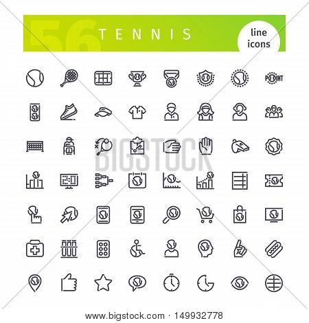 Set of 56 tennis line icons suitable for web, infographics and apps. Isolated on white background. Clipping paths included.