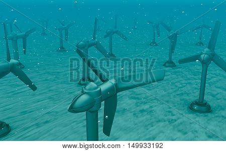 Tidal wave turbines on the bottom of the sea.