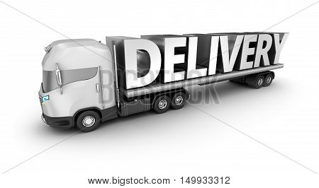 Modern truck with delivery word isolated. My own truck design.