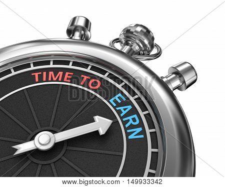 Time to earn timepiece 3d concept isolated