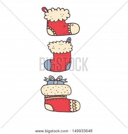 Three red Christmas sock on a white background. Vector illustration