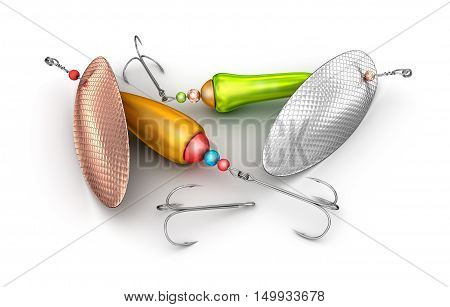 Fishing baits set isolated on white,3D render