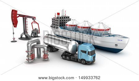 Concept of oil extraction and refining isolated on white