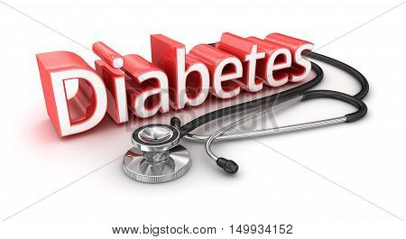 Diabetes text 3d medicical Concept , over white