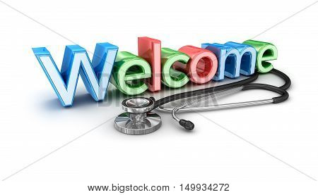 Welcome to medicine 3d Concept isolated ,