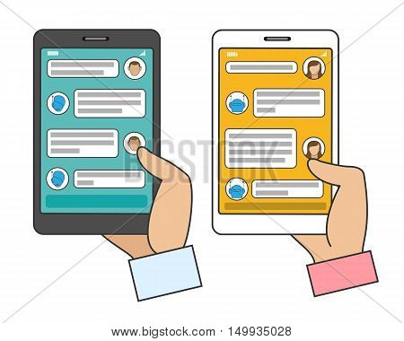 Chat bot connected. Man and woman chatting with AI chatbot in instant messenger on smartphone. Vector illustration