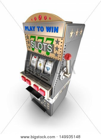 Slot machine gamble machine, 3D render ,