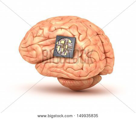 Human brain with computer chip, 3D render