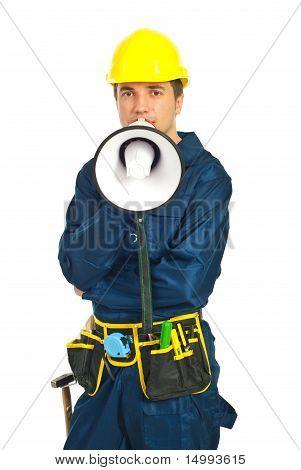 Worker Man Shouting Loudspeaker