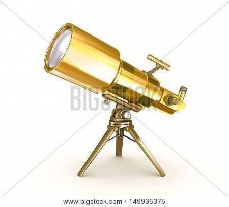 Golden telescope on support over wite,isolated on white