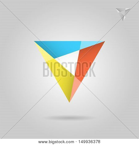 Mosaic triangle logo sign 2d vector illustration on grey background eps 10