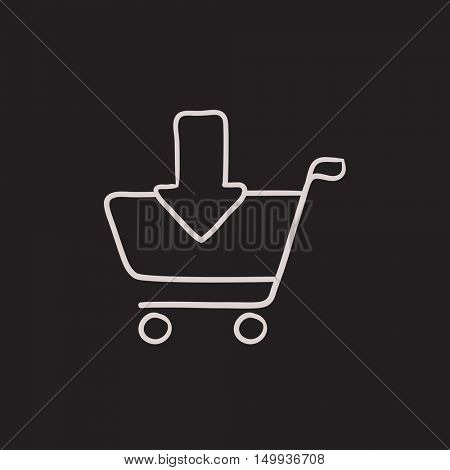 Online shopping cart vector sketch icon isolated on background. Hand drawn Online shopping cart icon. Online shopping cart sketch icon for infographic, website or app.