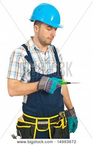 Repairman Holding Screwdriver