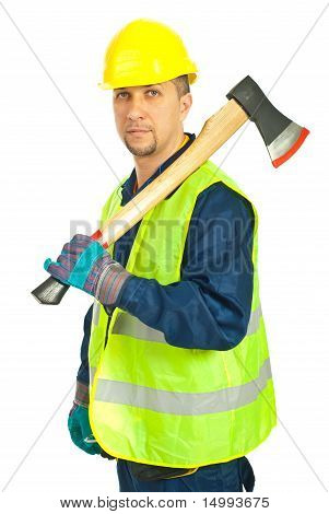 Mid Adult Worker Man Holding Axe