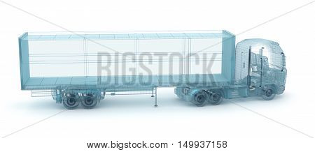 Truck with cargo container wire model. My own design 3D illustration