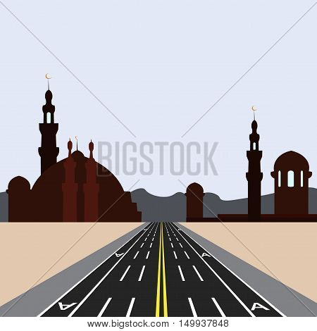 East city on the horizon. Direct road highway with markup. Dedicated lanes for public transport. Vector illustration