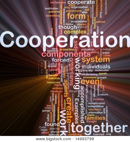 Background concept wordcloud illustration of cooperation management together glowing light