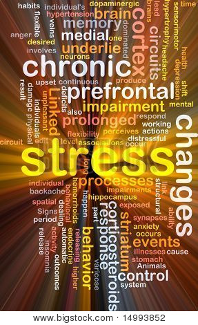 Background concept wordcloud illustration of chronic mental stress glowing light