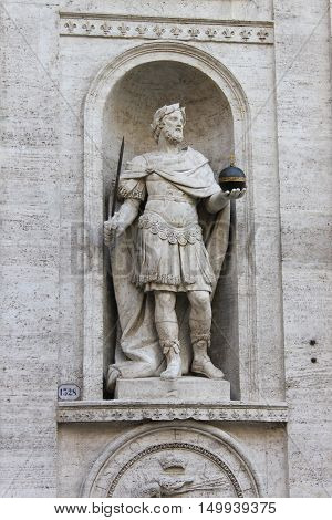 Statue of Charlemagne in Saint Louis cathedral of Rome, Italy