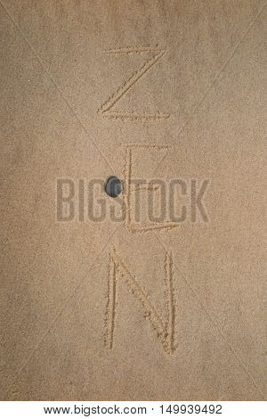 Zen Stone. Background On The Sand Written