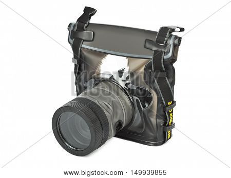 Camera in waterproof case isolated on white background