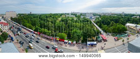 VITEBSK BELARUS - JULY 13 2016: Panoramic view from above on Lenin street restaurant