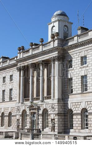 The facade of Somerset House in London, UK