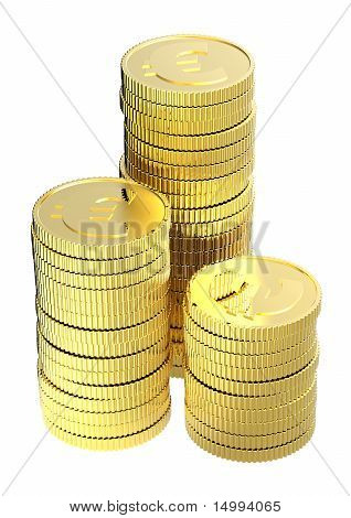 Stacks of gold euro coins isolated on a white background.