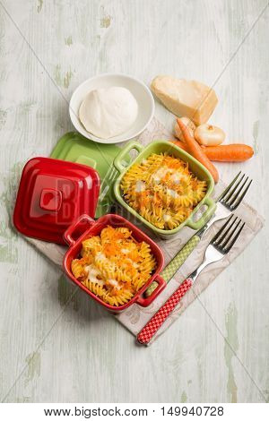 oven pasta with mozzarella carrot onion and parmesan cheese