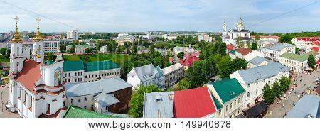 VITEBSK BELARUS - JULY 13 2016: Panoramic view from above on Lenin Street and Suvorov Street Holy Resurrection Church Holy Dormition cathedral during festival Slavic Bazaar Vitebsk Belarus