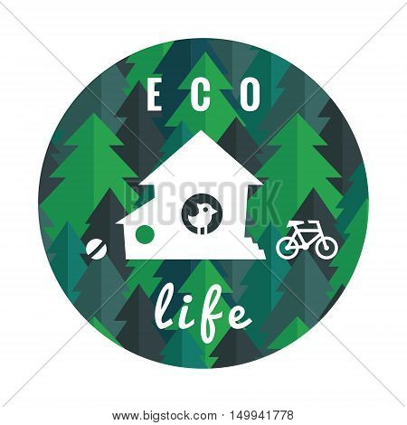 Eco life vector circle illustration with flat pine forest house ball bird and bicycle