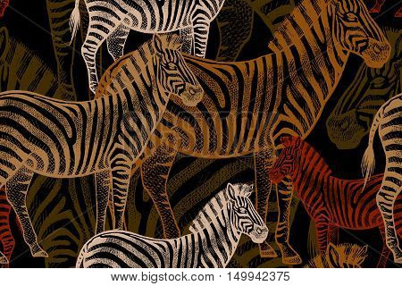 Seamless vector pattern with African animals. Colored Zebra on a black background. Template to create fabric Wallpaper paper textiles curtains design summer clothes in the style of Safari.