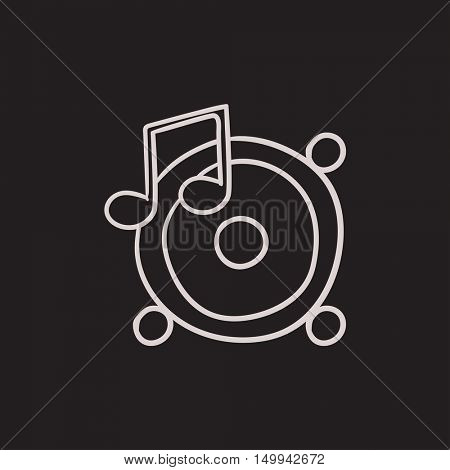 Loudspeakers with music note vector sketch icon isolated on background. Hand drawn Loudspeakers with music note icon. Loudspeakers with music note sketch icon for infographic, website or app.