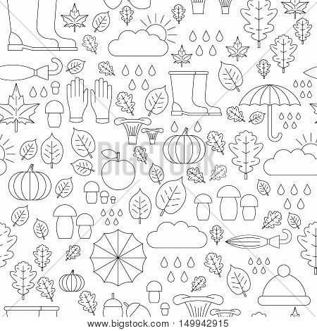 Autumn repeating, seamless pattern of elements symbolizing autumn, and autumn mood. The pattern is executed in a linear style.