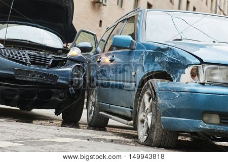 automobile accident and crash on street