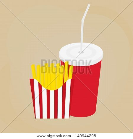 French fries icon in red box. French fries potato in paper bucket. drink in a paper cup with a straw. Vector and illustration design.