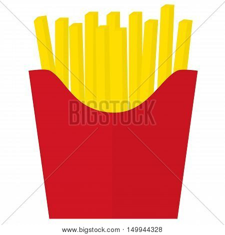 French fries icon in red box. French fries potato in paper bucket. Vector and illustration design.