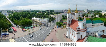 VITEBSK BELARUS - JULY 13 2016: Panoramic view from above on Lenin Street Holy Resurrection Church concert hall