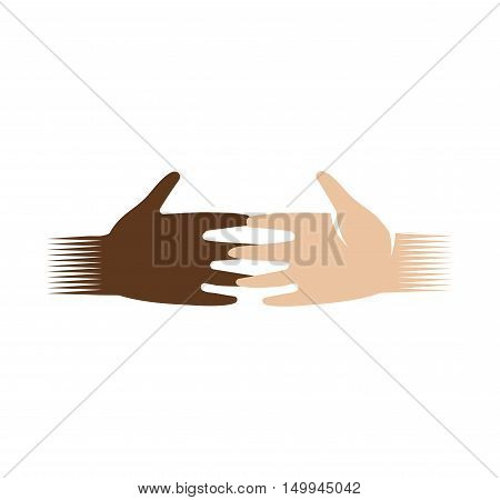 Isolated abstract dark and light skin human hands logo. White and black people touching fingers logotype.Equal rights sign. International friendship symbol. Charity campaign icon. Vector illustration