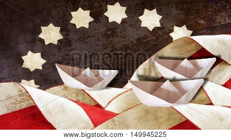 Columbus Day. Flag Waves and Three Paper Boats.