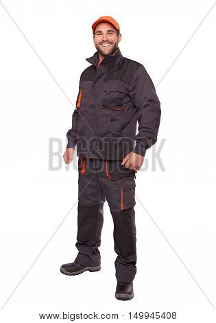 Smiling Worker In Uniform With Orange Cap Isolated On White Background